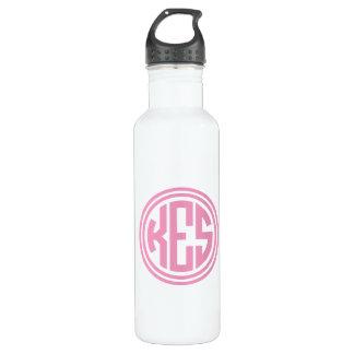 Rosa adrettes Kreis-Monogramm Trinkflasche