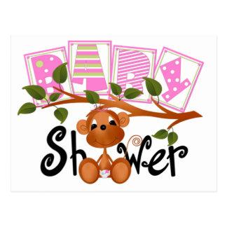 Rosa Affe-Babyparty-Karten Postkarte