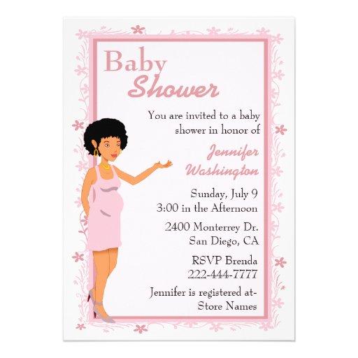 rosa afroamerikaner babyparty einladung 12 7 x 17 8 cm einladungskarte zazzle. Black Bedroom Furniture Sets. Home Design Ideas