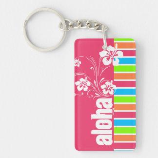 Rosa Aloha; Retro Neonregenbogen Schlüssel Anhänger