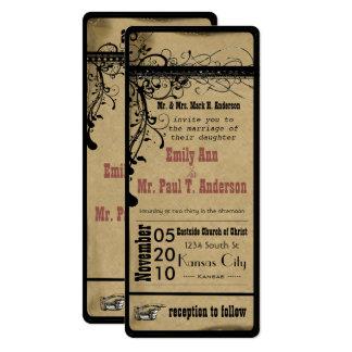 Rosa alte Hochzeits-Einladungen Hollywood Playbill 10,2 X 23,5 Cm Einladungskarte