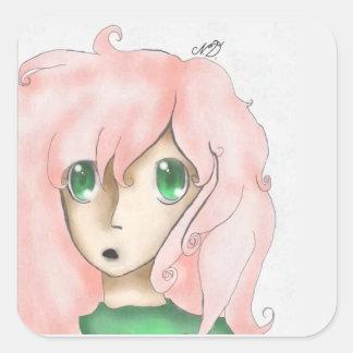 Rosa Animemädchen Quadratischer Aufkleber