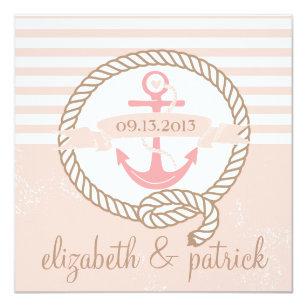 Rosa Anker Stripes Seehochzeits Einladung Einladung