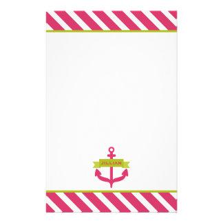 Rosa Anker u. Streifen-personalisiertes Briefpapier