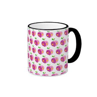 Rosa Apfel-Muster-Wecker-Tasse Ringer Tasse