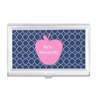 Rosa Apple-Marine Quatrefoil Visitenkarten Etui