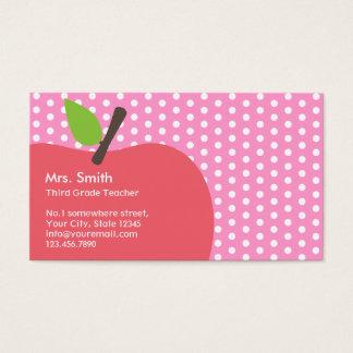 Rosa Apple-Tupfen-Schullehrer-Visitenkarte Visitenkarte