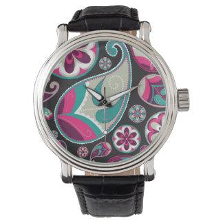 Rosa aquamarines Paisley-Muster Armbanduhr