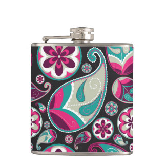 Rosa aquamarines Paisley-Muster Flachmann