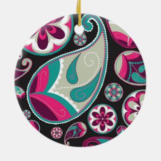 Rosa aquamarines Paisley-Muster Keramik Ornament