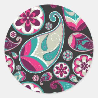 Rosa aquamarines Paisley-Muster Runder Aufkleber