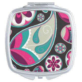 Rosa aquamarines Paisley-Muster Taschenspiegel