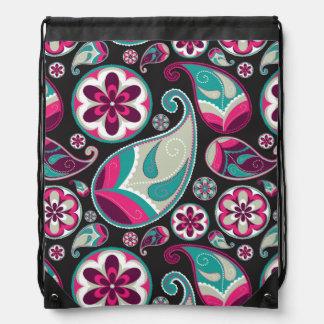 Rosa aquamarines Paisley-Muster Turnbeutel