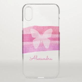 Rosa Aquarell-Anschläge u. Schmetterling iPhone X Hülle