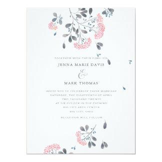 Rosa Aquarell blüht Hochzeits-Einladung Karte