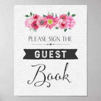 Rosa Aquarell-Blumengast-Buch-Hochzeits-Zeichen Poster