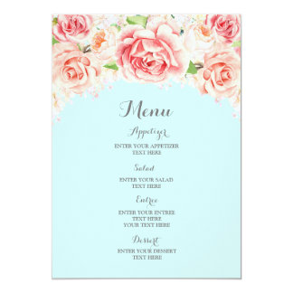 Rosa Aquarell-Blumenhimmel-Blau-Hochzeits-Menü 12,7 X 17,8 Cm Einladungskarte