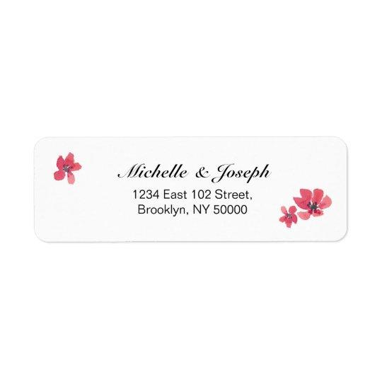 Rosa Aquarell-Blumenhochzeits-Aufkleber Rücksende Aufkleber
