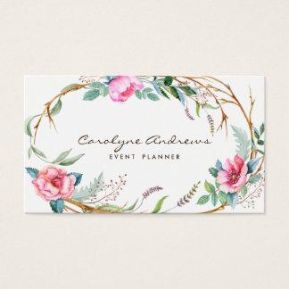 Rosa Aquarell-böhmischer BlumenKranz Visitenkarten