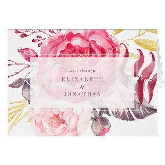 Rosa Aquarell-englischer Blumenstrauß danken Ihnen Karte