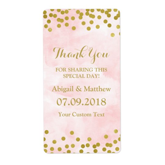 Rosa Aquarell-Goldconfetti-Hochzeits-Aufkleber Versandetiketten