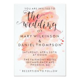 Rosa Aquarell-Hintergrund-Hochzeits-Einladung Karte
