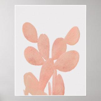 Rosa Aquarell-Kaktus Poster