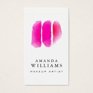 Rosa Aquarell-Maskenbildner-Muster Visitenkarten