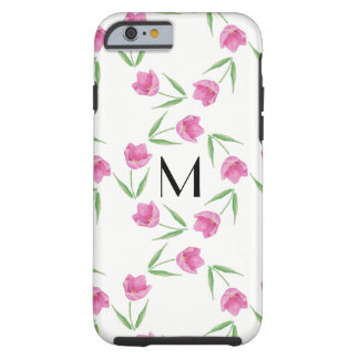 Rosa Aquarell-Tulpen, die Initiale gestalten Tough iPhone 6 Hülle