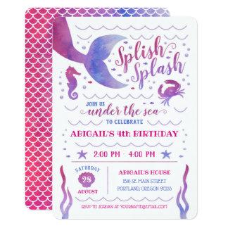 Rosa Aquarell unter dem Seemeerjungfrau-Geburtstag Karte