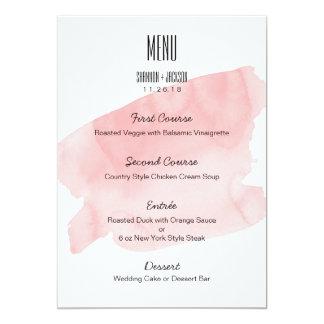 Rosa Aquarell-Wäsche-Hochzeits-Menü 12,7 X 17,8 Cm Einladungskarte