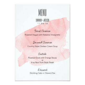 Rosa Aquarell-Wäsche-Hochzeits-Menü Karte