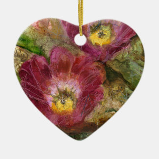 Rosa Arizona-Wüsten-Blumen Keramik Herz-Ornament