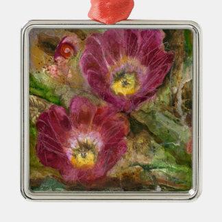 Rosa Arizona-Wüsten-Blumen Quadratisches Silberfarbenes Ornament