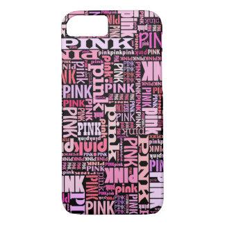 Rosa auf schwarzem Textmuster für rosa Liebhaber iPhone 7 Hülle