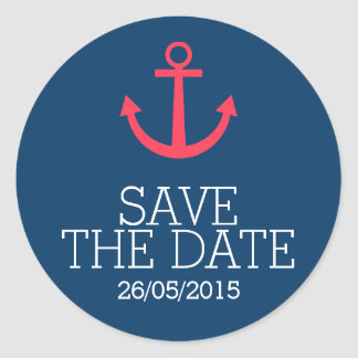 Rosa Aufkleber des Ankers Save the Date