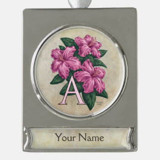 Rosa Azaleen-kundengerechtes Blumen-Monogramm Banner-Ornament Silber