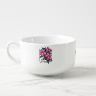 Rosa Azaleen-kundengerechtes Blumen-Monogramm Große Suppentasse