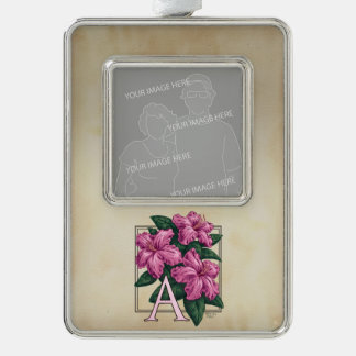 Rosa Azaleen-kundengerechtes Blumen-Monogramm Rahmen-Ornament Silber