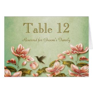 Rosa Azaleen Vintag auf grüner Nebel-Tischnummer Karte