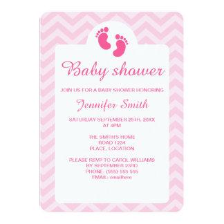 Rosa Baby-Abdruck-Silhouette-Baby-Dusche Karte