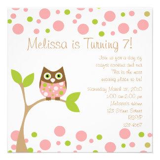 Rosa Baby-Eule Personalisierte Einladungen