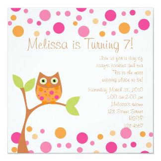 Rosa Baby-Eule-Heißes Rosa durch Antrag Einladungskarten