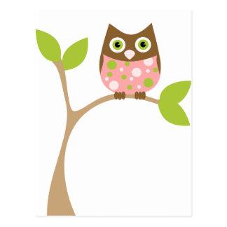 Rosa Baby-Eule Postkarte