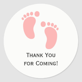 Rosa Baby-Fuß-Babyparty-Aufkleber-Aufkleber Runder Aufkleber