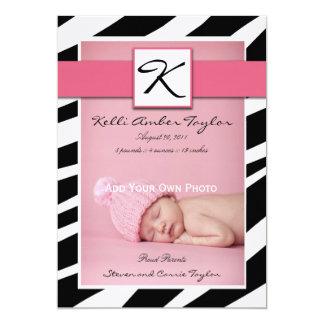 Rosa Baby-Geburts-Mitteilungzebra-Muster 12,7 X 17,8 Cm Einladungskarte