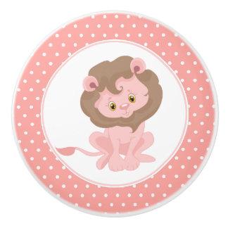 Rosa Baby-Löwe-Tupfen Keramikknauf