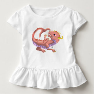 Rosa Baby-Wasser-Drache-Rüsche-Kleinkind-T-Stück Kleinkind T-shirt