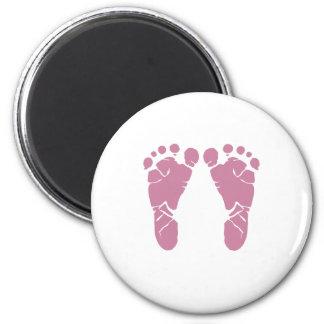 Rosa Babyabdrücke Runder Magnet 5,1 Cm