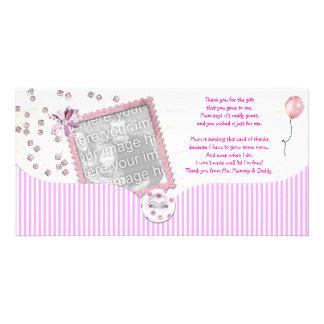 Rosa Babydusche danken Ihnen Foto-Karte vom Baby Individuelle Foto Karten